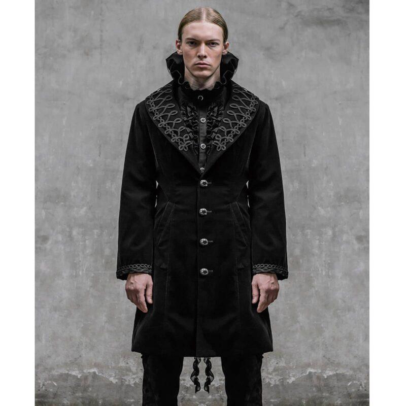 Akacia Mens Jacket Frock Coat, Black Velvet Jackets for Men, Mens Jacket, Gothic Clothing, gothic jacket for sale, steampunk jacket for sale, punkrave jacket for sale