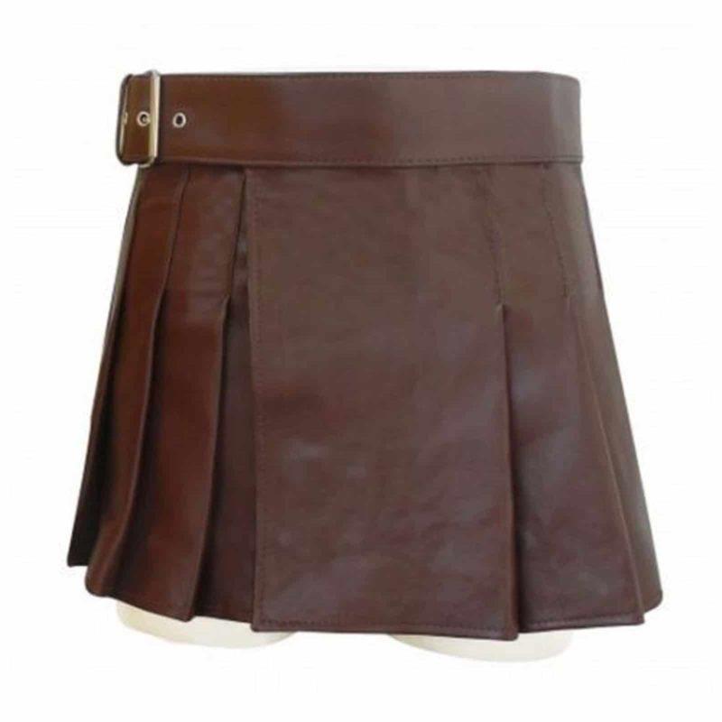 Highland Gladiator Viking Utility Kilt, best leather kilts, utility leather kilts, short leather kilt, brown leather kilt, womens leather kilt, leather kilt for women sale,