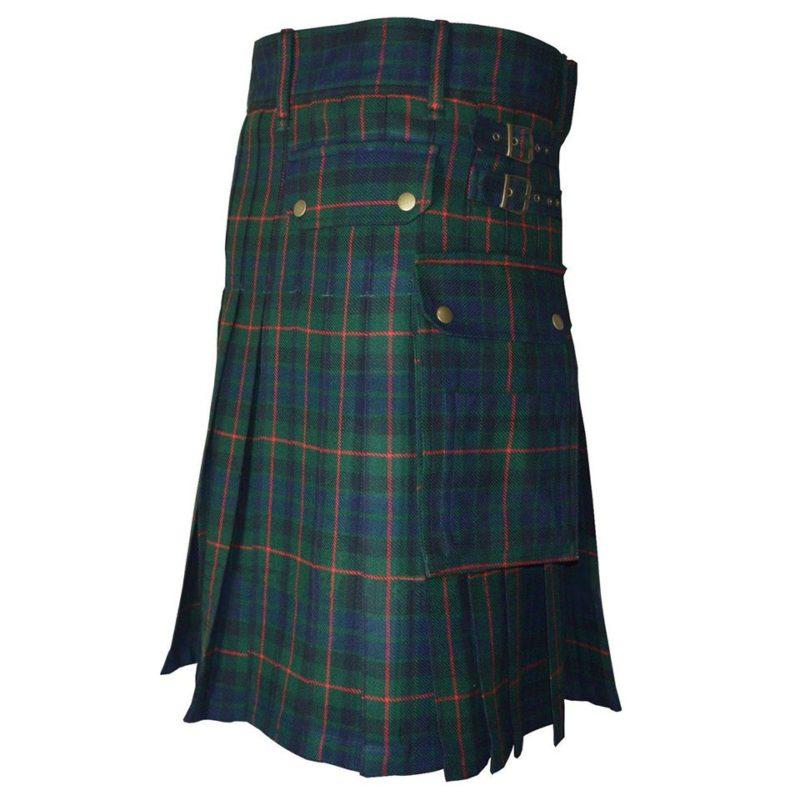 modern gunn tartan kilt, modern gunn tartan, gunn taran utility kilt, gunn clan tartan fabric, gunn clan tartan